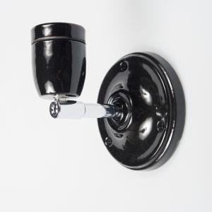 Zwart porselein E27 wandlamp met fitting