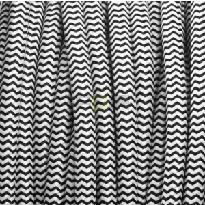 zwart en wit ronde stof kabel