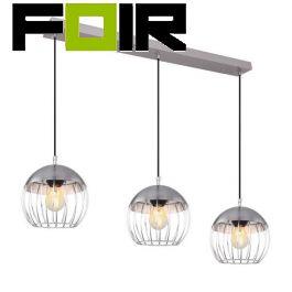 Eettafel chrome hanglamp 'Murro' 3x E27 rond kooilamp 900mm