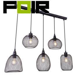 Hanglampen set eettafel 'Anya' 5x gaas lamp zwart