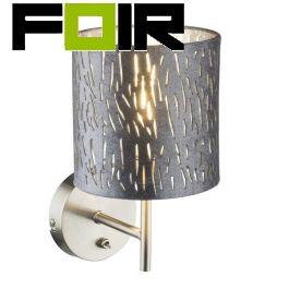 Slaapkamerlamp wandlamp 'Tarok' zilver E14 fitting met schakelaar