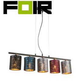 Hanglamp 5 lampen modern 'Ticon' E14 fitting metaal multi kleur