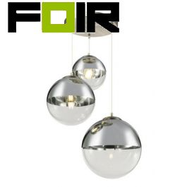 Hanglamp glas 3 bollen 'Varus'- nikkel mat - transparant glas