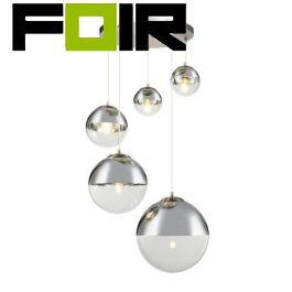 Hanglamp glazen bollen 5x 'Varus' nikkel mat - transparant glas