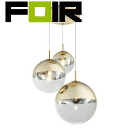 Hanglamp glas bol 'Varus' - metaal goud - doorzichtig glas