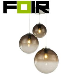 Hanglamp 3 glazen bollen 'Varus' - chroom - smoke glas