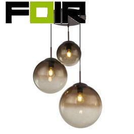 Hanglamp glazen bollen 3 bollen 'Varus' amberkleurige glas