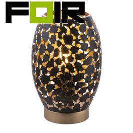 Tafellamp metaal zwart 'Narri' zwart goud E14 fitting 230mm