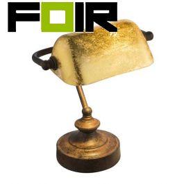 Banker lamp blad goud 'Antique' E14 fitting 240mm