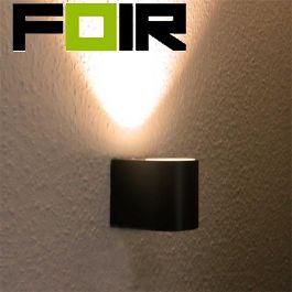 Led wandlamp buiten 'Boston' Aluminium 5W led gu10- Zwart antraciet