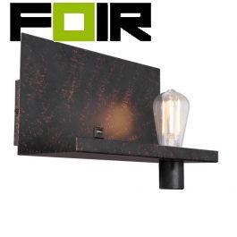 Wandlamp met USB industrieel 'Bayuda' zwart metaal E27 fitting