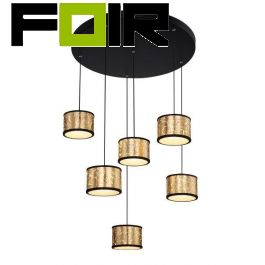 Hanglamp 6 lampen 'Lucas' goud / zwart LED 750mm