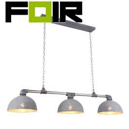 Hanglamp eettafel 'Fabian' 3 kappen grijs metaal E27 fitting 150cm