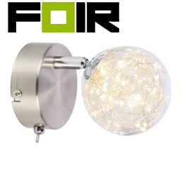Wandlamp led lamp helder glas 'Xmas' 1 LED-spot - chroom satijnnikkel