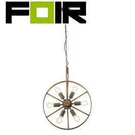Hanglamp groen roest metaal 'Tonu' 6x E27 fitting 500mm