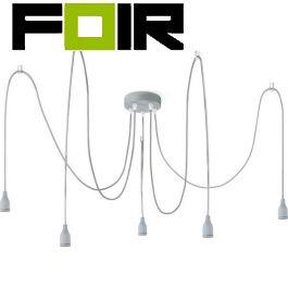 Hanglamp 5 lampen beton 'Olivera' 5x E27 zonder kap
