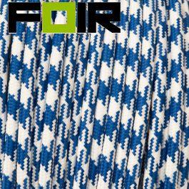 Strijkijzersnoer Wit - blauw rond