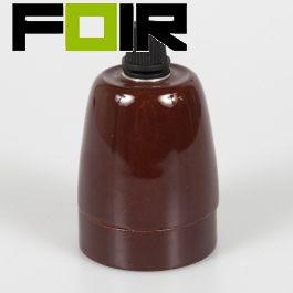 Porselein E27 fitting bruin