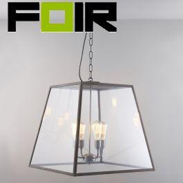 Davey Lighting 'Quad Large' zwart glas hanglamp buiten E27 fitting