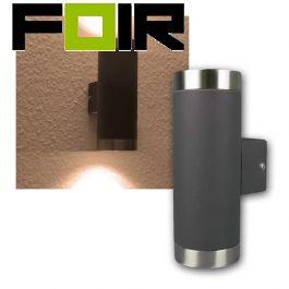 Buitenlamp wandlamp antraciet grijs 2x3w gu10 led lamp