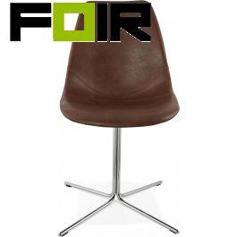 Eetkamer stoel bruin 'Bedford' pu leer modern chrome Kokoon Design