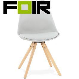 Eetkamer stoel grijs 'Tolik' houten poten Kokoon Design