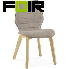 Eetkamer stoel modern 'Hardy' grijs houten poten Kokoon Design