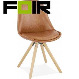 Eetkamer stoel 'Steve' bruin leer Kokoon Design