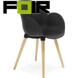 Eettafelstoel modern zwart 'Sitwel' zwart kunstof hout Kokoon Design