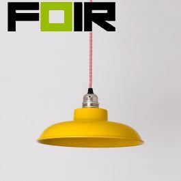 Lena vlakke hanglamp geel klein 28cm