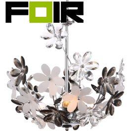 Hanglamp bloemen zilver 'Rainbow' kristallen modern zilver 410mm