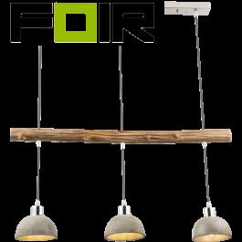 Hanglamp hout beton 'Jebel' E27 fitting Nikkel