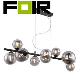 Hanglamp eettafel 'Riha' zwart metaal rookglas G9 fitting 860mm