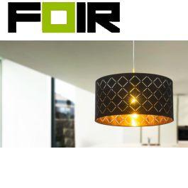 Hanglamp goud zwart 'Clarke' textiel E27 fitting 400mm