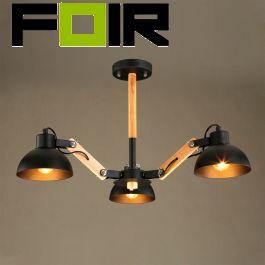 Hanglamp spin 'Roka' industrieel hout E27 fitting modern 750mm