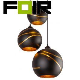 Lampen set 3 bollen 'Lommy' metaal zwart glas goud 3x E27