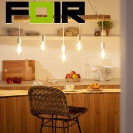 Hanglamp houten balk industrieel 'Yaris' E27 fitting wit 102cm
