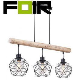 Hanglamp 'Theodor' houten balk modern e27 fitting zwart 120cm