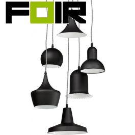 Hanglamp zwart set 'Pengan' 6x E14 fitting