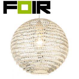 Hanglamp rond bol 'Daxos' E27 fitting kristal glas