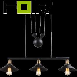 Hanglamp eettafel 'Lenius' industrieel zwart 3x E27