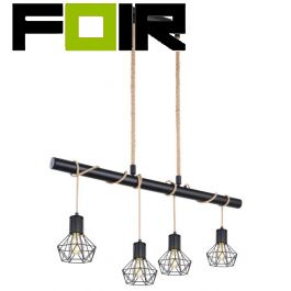 Hanglamp 'Priska' modern E27 fitting modern zwart metaal 100cm
