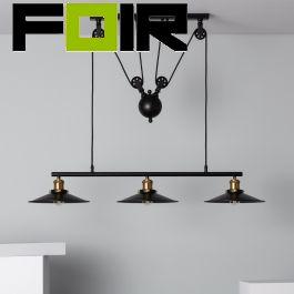 Hanglamp industrieel 'Frances' eettafel modern 3x E27 fitting zwart industrieel 900mm