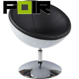 Kokoon design Stoel 'Sphere' Wit Zwart Kunststof en Kunstleer