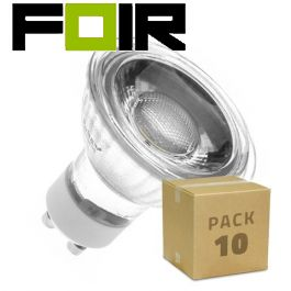 Set van 10 GU10 45º 7W COB glazen LED lampen warm wit 3000k
