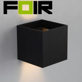 Gevelverlichting Kubus 'Ace' licht sensor automatisch aan zwart 7W led up and down lamp light sensor