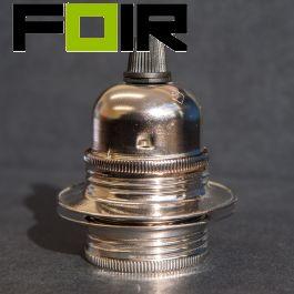 Nikkel E27 fitting met 2 ringen industrieel