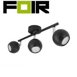 Zwart verstelbare 'Phil' plafondlamp met 3 spotlights gu10