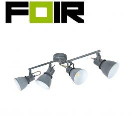 Plafondspot 'Remy' 4 spots grijs E14 fitting verstelbaar