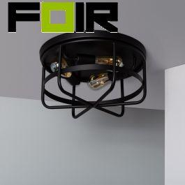 Plafondlamp industrieel 'Jill' 3x E27 fitting zwart rond metaal 400mm
